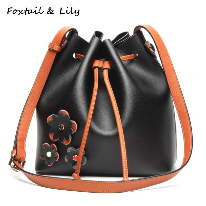 FoxTail & Lily Real Leather Beautiful Flowers Design Women Drawstring Bucket Bag Genuine Leather Ladies Shoulder Crossbody Bags foxtail