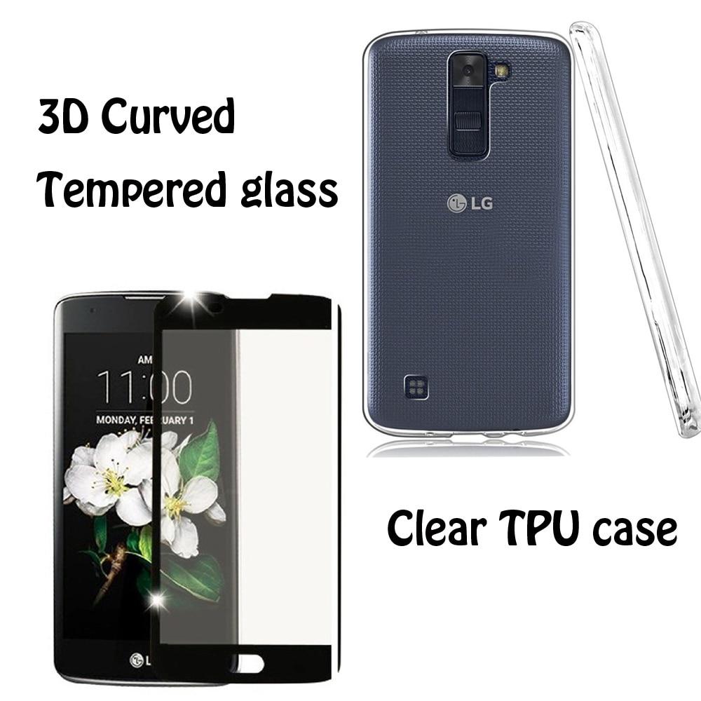 Цена за 3D изогнутые протектор экрана из закаленного стекла для LG K8 LG Феникс 2 Чехол прозрачный ТПУ силиконовый чехол для LG K8 LG Феникс 2