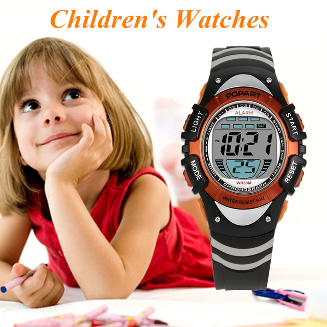 POPART Children's Watches 7-Colored Back Light Alarm Stopwatch 50m Waterproof Sp