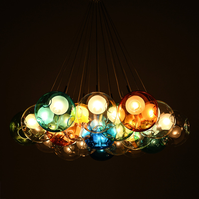 Colorful Creative Design Modern LED Glass Pendant Lights Lamps for Dining Room Living Room Bar Led Glass Ball Pendant Light 220V