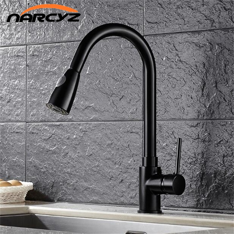 Kitchen Faucets Silver Single Handle Pull Out Kitchen Tap Single Hole Handle 360 Rotate Crane Chrome
