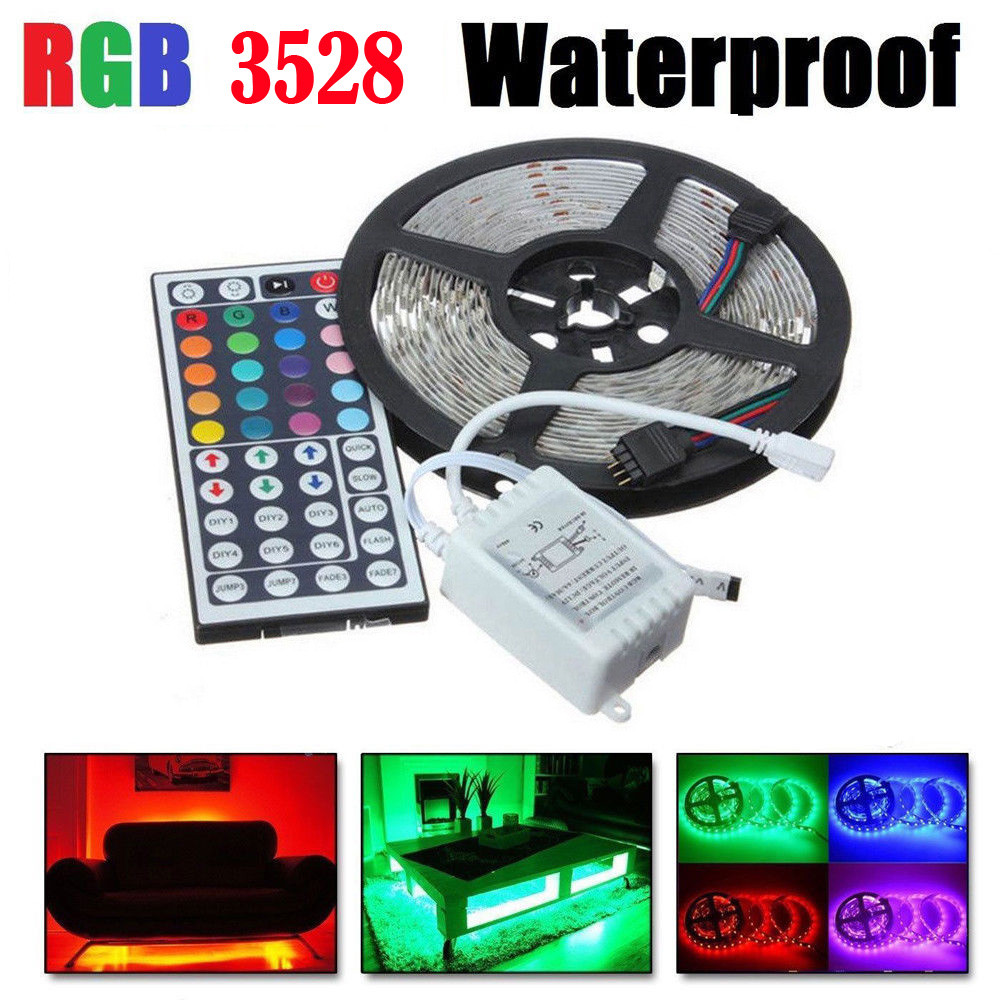 Light strip Remote Control 300 LED/5 Meter RGB 3528 SMD Flexible Waterproof IP60 Light Strip Lamp 44 key IR Remote Controller waterproof 300 3528 smd led rgb flexible strip w 24 key controller 12v 5m