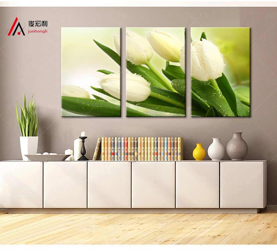 ff41f8ad812 Модульная картина холст печать белые тюльпаны картины и рамка для кухни  стены Искусство
