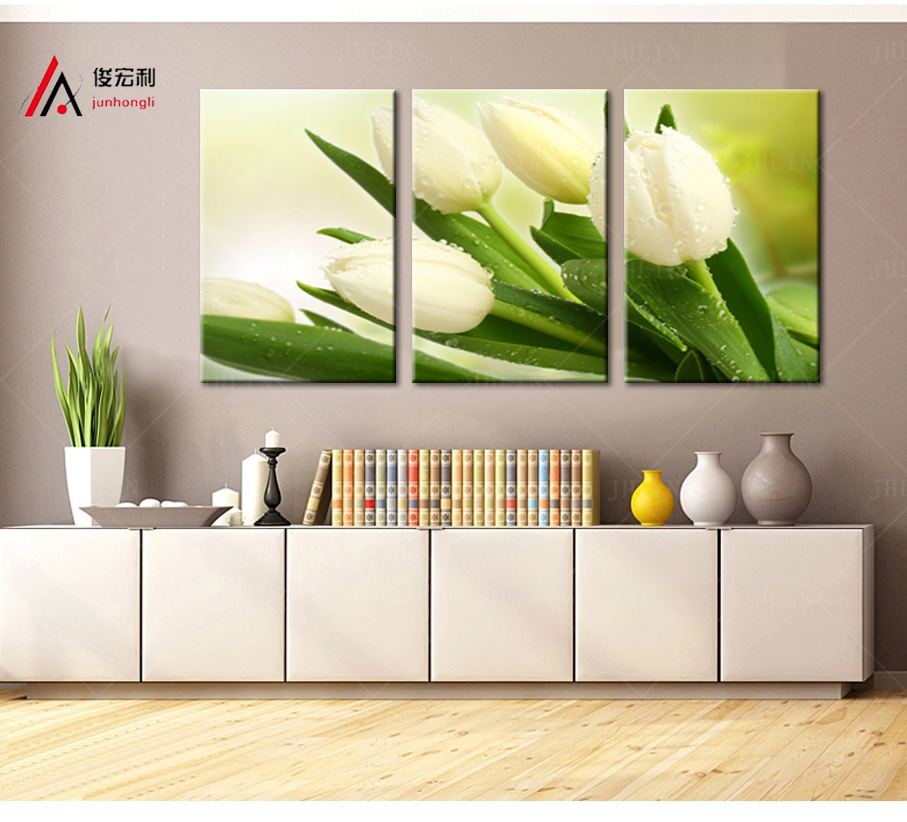3 Piece Modular Picture Canvas Print White Tulips Paintings and Framed for Kitchen Wall Art Home Decor Photo Print Free shipping in Painting Calligraphy from Home Garden