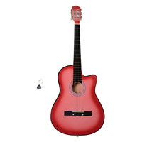 38 Inch Cutaway Acoustic Guitars with Guitar Plectrum Pink Guitar for Learners Beginners Professional Guitar US Stock