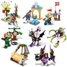 Mini Action Figures Knight Devil Building Blocks Compatible Legoed Skeleton Magician Shooter War Weapon Enlighten Bricks Toy Kid(China)