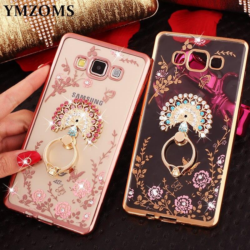 Bling Diamond Case For Samsung J7 Neo J5 Prime J3 2017 J2Pro 2018 C8 C9 Pro C10 ON7 Finger Ring Kitty Peacock Holder Phone Case