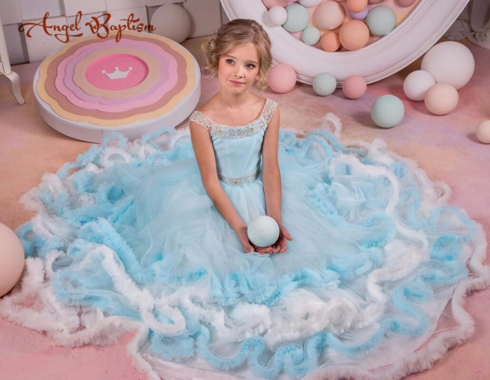 Elegant Sky blue flower girl dresses ice princess open back pageant glitz gown cupcake puffy tulle frocks with beads blings ball gown sky blue open back with long train ruffles tiered crystals flower girl dress party birthday evening party pageant gown