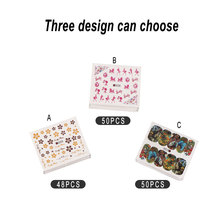 Umitive 50pcs Animal Cartoon Water Decals Transfer Tattoo Flower Butterfly Nail Art Decorations Stickers