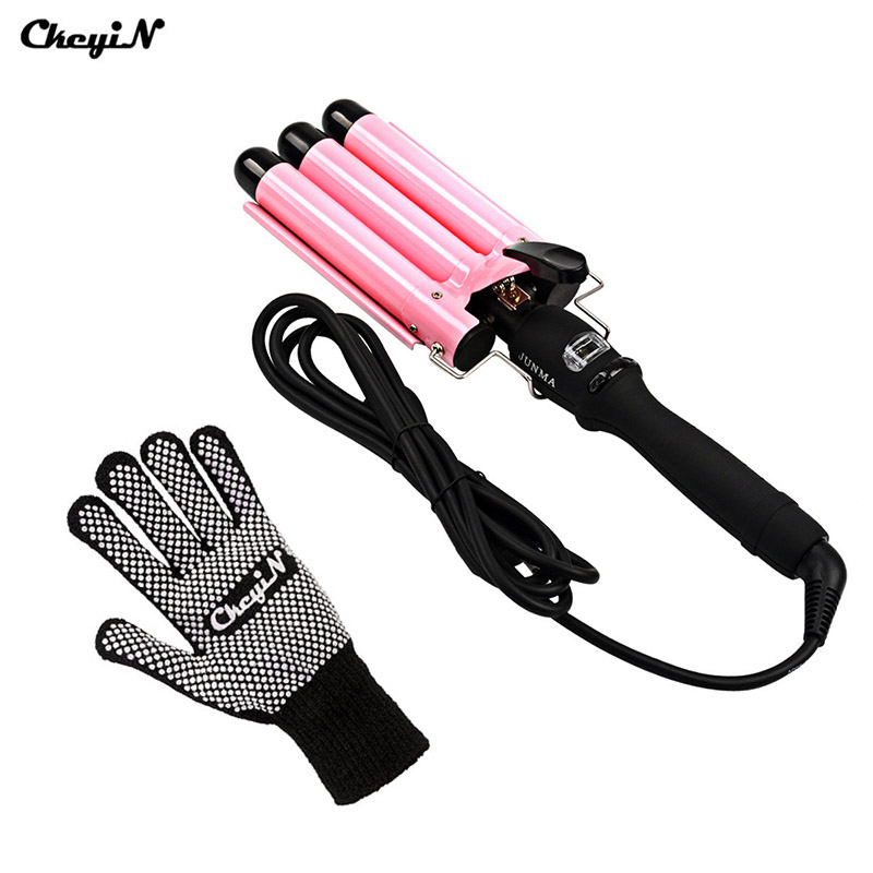 CkeyiN 110V-240V 25/22/32mm Ceramic Triple Barrel Hair Curling Iron Magic Hair Curler Roller Deep Curly Hair Waver Styling Tool