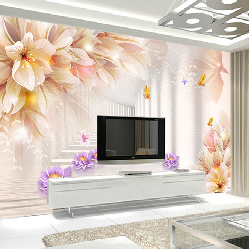 Custom 3D Photo Wallpaper Murals Modern Fashion Romantic Lily 3D Stereo TV Backdrop Wall Mural Wallpaper For Living Room Flower 3d custom the house full of romantic love sea murals large mural peacock bedroom wallpaper tv wall wallpaper