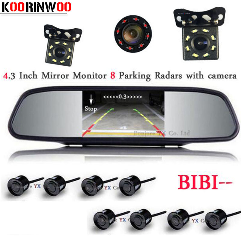 Koorinwoo HD CCD Front Probes Car Rear view Camera LED Lights Digital Monitor 800*480 Parktronic Car Parking Sensors 8 Probes contrast striped petal sleeve dip hem shirt