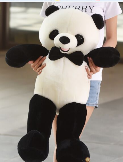 big lovely plush panda toy new bow panda doll gift about 80cm new lovely plush panda toy stuffed sitting panda doll gift about 60cm