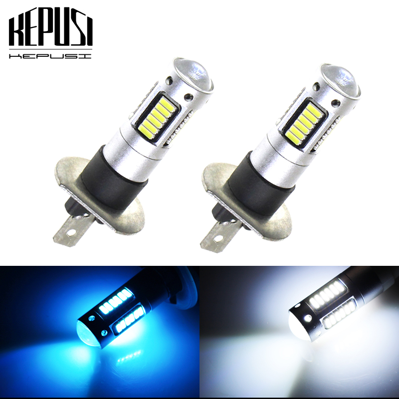 2PCS H1 Auto LED Fog Lamp LED Car Bulbs 4014 DRL Daytime Running External Lights Day Driving Vehicle White Ice Blue Car Styling