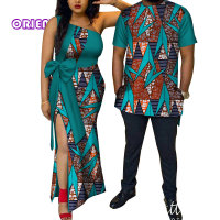 African Couple Clothes Women Dress Men Shirt Bazin Riche African Print One Shoulder Evening Party Dresses T Shirts Lovers WYQ114