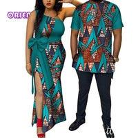 African Couple Clothes Women Dress Men Shirt Bazin Riche African Print One Shoulder Evening Party Dresses T Shirts Lovers WYQ114