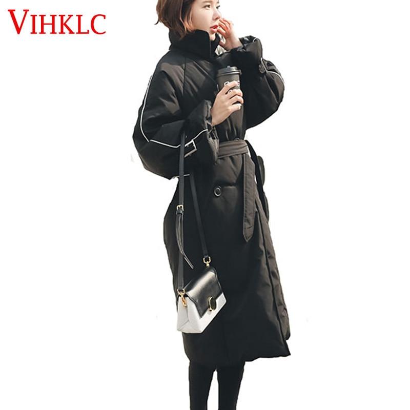 Vêtements Hiver Longue Ceinture X352 Coréenne Lâche Vers Genou Femmes Section Sur 2018 Black Nouvelle Bas Manteau Le Coton Épaississement Version rEEqCUPI