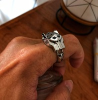 fashion brand letter ring smooth panther ring finger black enamel leopard ring jewelry