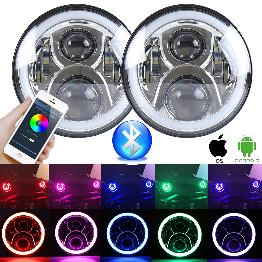 цена на 2pcs RGB Halo Angel Eye Bluetooth Remote 7 inch Headlamp For 1997~2016 Jeep Wrangler JK LJ CJ Hummer 7