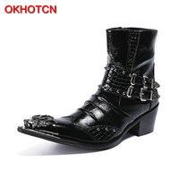 OKHOTCN Hot sale black metal pointed toe man ankle boots genuine leather crocodile grain Chelsea boots double buckle decoration