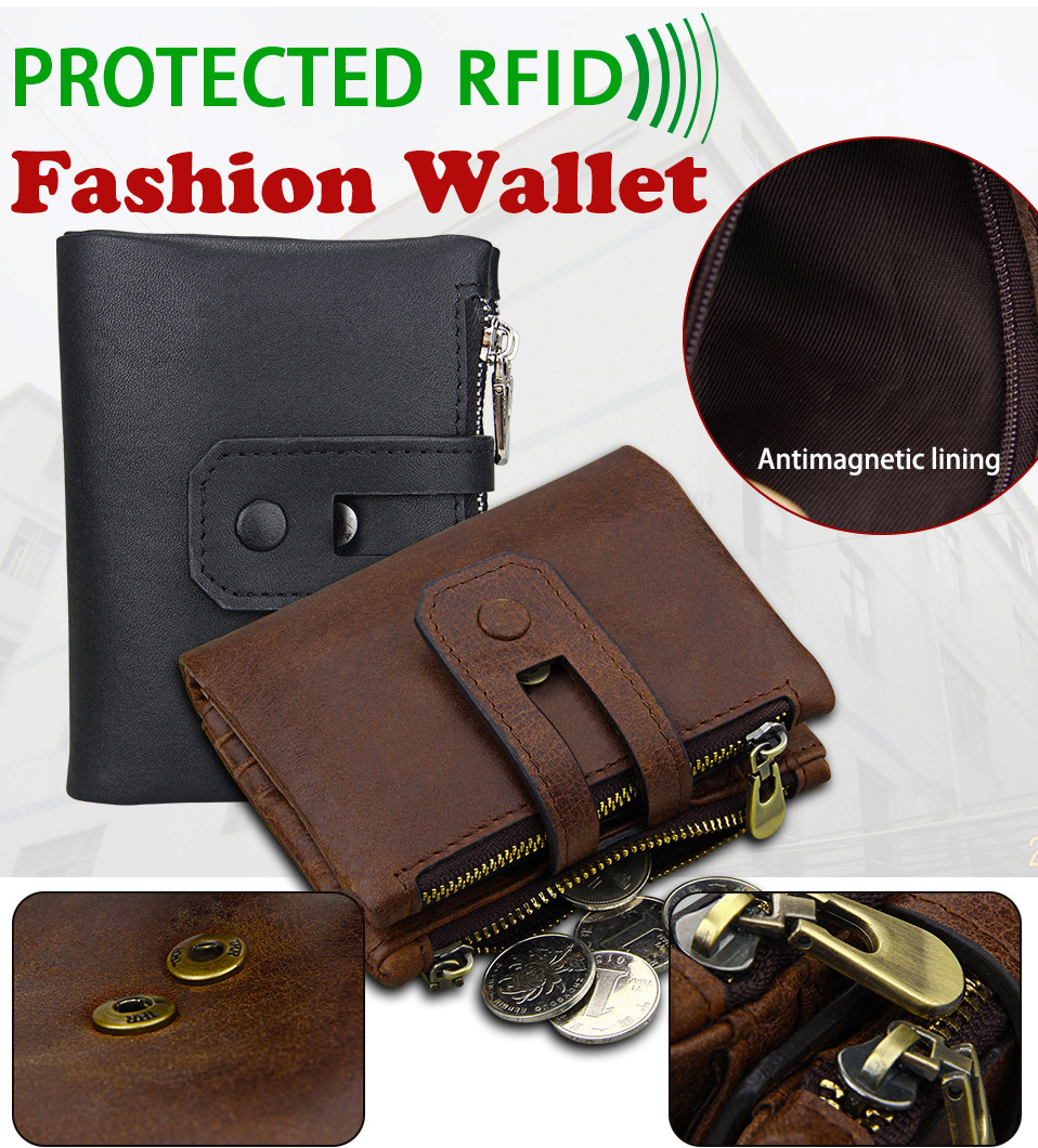 Genuine Leather Men Wallets Double Zipper Male Xmas Gifts For Him Father Son Dad