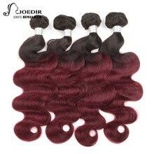 Joedir Hair Pre-Colored Brazilian Remy Hair Body Wave Human Hair Weave Bundle Deal T1B 99J Burgundy Ombre Hair Bundles Wine Red