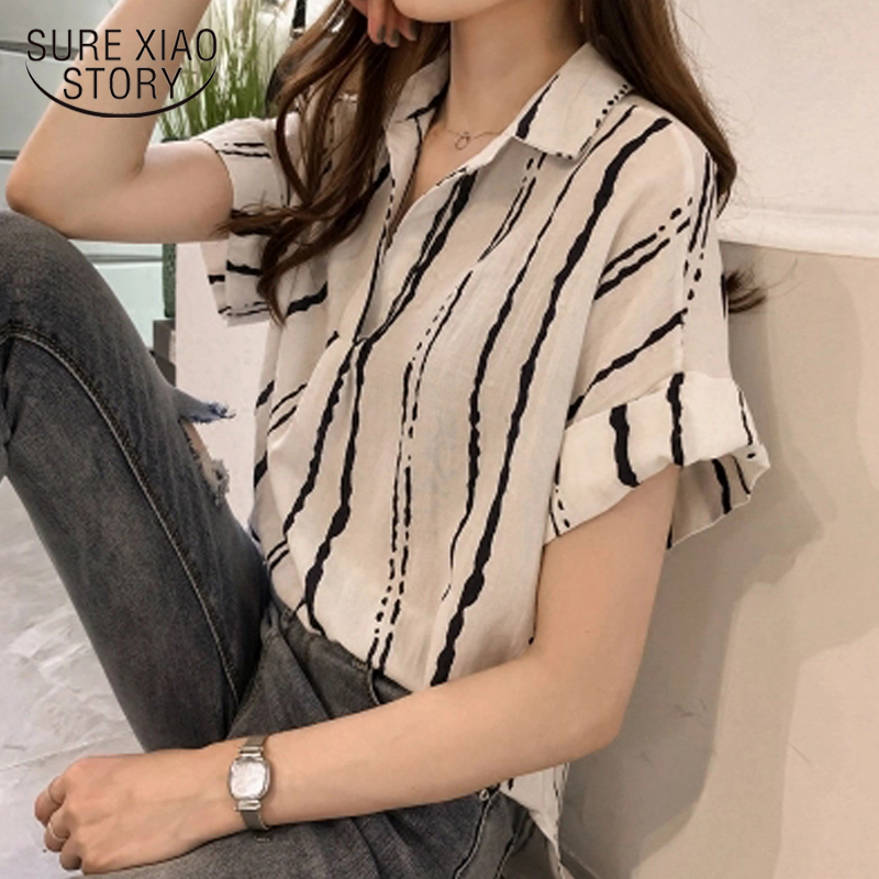New 2018 Summer V Collar Stripe Printing   Shirt   Women   Blouse     Shirt   Chiffon Short Sleeve Sexy Female Clothing Blusas Tops 0751 30