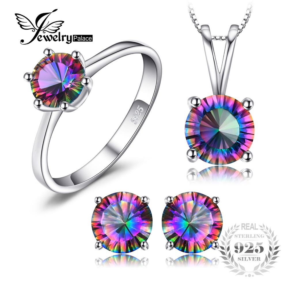 Classic Round Genuine Rainbow Fire Mystic Topaz Pendant Ring Earring For Women Wedding Gift Set 925 Sterling Silver