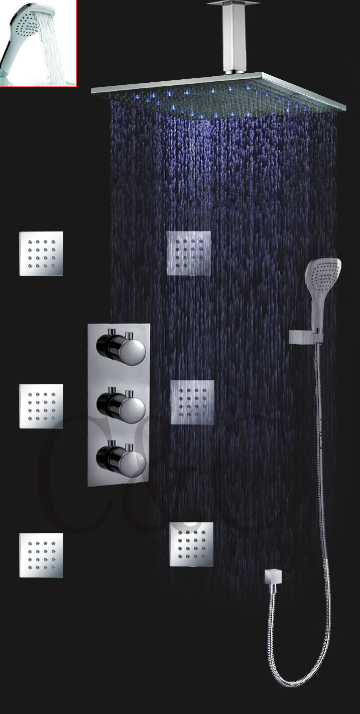 SPA Thermostatic Shower Faucet For Bath With 16 Inch LED Rainfall Shower Head Set  Bathroom Products 007-16-3H auto thermostatic control bath