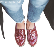 69e9db83451 Parkside Wind Fashion Women Loafers Patent Leather Brogues Fringe Shoes  Woman Oxford Shoes Flat Platform Shoes Tassel 0080-5