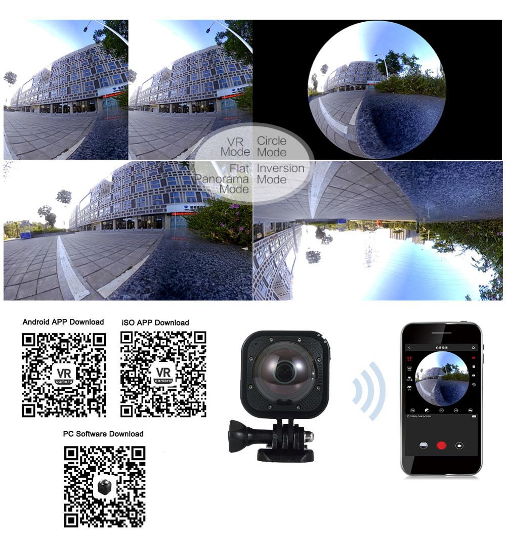 SOOCOO Cube360F 1080P Full HD 360 Degree Panorama Camera Wifi  (6)