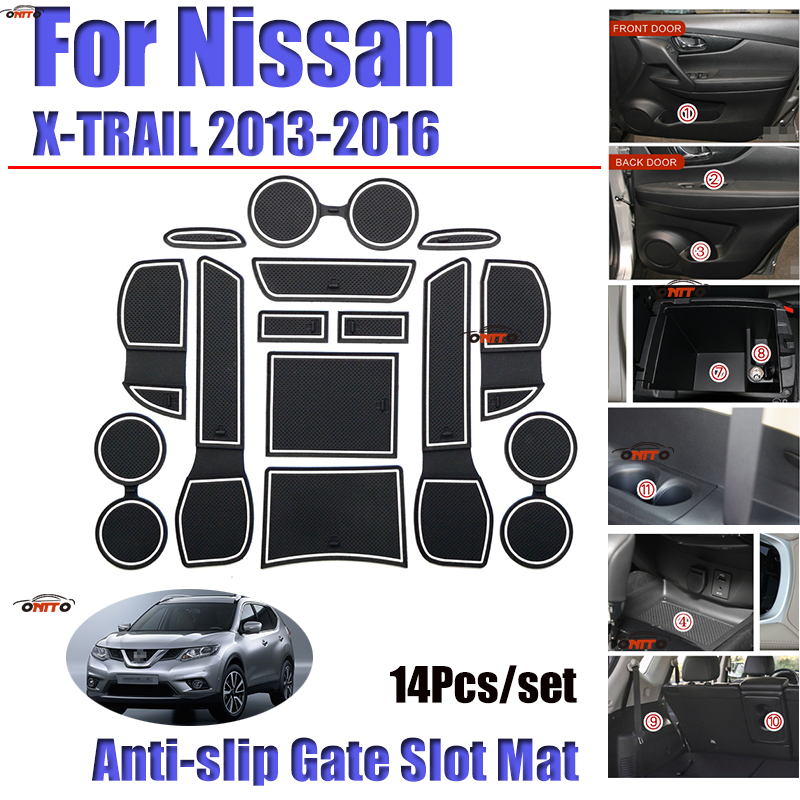 14pcs/set FOR 2013 2014 2015 2016 Nissan X-TRAIL Gate Slot Pad Non-slip Cup Mats Anti Slip Door Groove Mat Sticker Accessories
