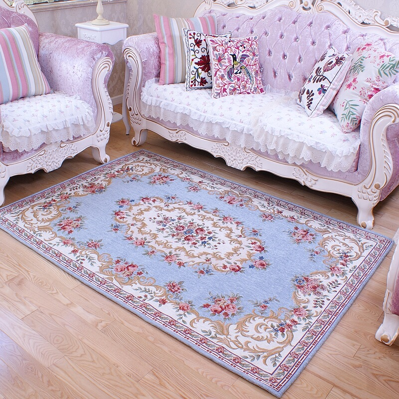 American Retro Carpet Purple Bedroom High End Living Room Flower