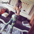 TANIA Ejército Moda Verde Leggings 3D Patrón de Rombo Elástico Deportivo Push up de Las Mujeres Pantalones Casuales 2017 de la Aptitud Leggins Leggings