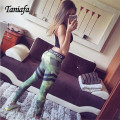 TANIA Fashion Army Green Leggings 3D Rhombus Pattern Elastic Sporting Leggins Push up Women Pants Casual 2017 Fitness Leggings