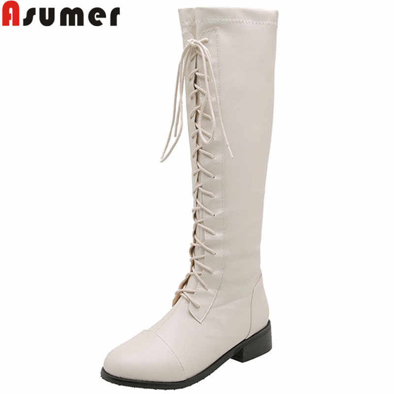 ASUMER/Новинка 2020 года; сапоги до колена; женские сапоги на шнуровке с круглым носком; женская обувь на квадратном каблуке; сезон осень-зима; женские сапоги