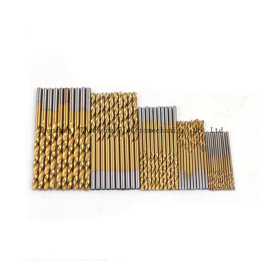 50 piece Set Twist Drill Bit Set Saw Set  High Steel Titanium Coated Drill Woodworking Wood Tool 1/1.5/2/2.5/3mm For Metal new 50mm concrete cement wall hole saw set with drill bit 200mm rod wrench for power tool