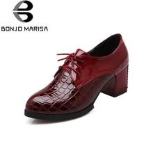 BONJOMARISA/модные Винтаж на шнуровке открытые туфли-лодочки Для женщин большой Размеры 34–43 Западной Стиль платформа на высоких каблуках Туфли под платье женская обувь