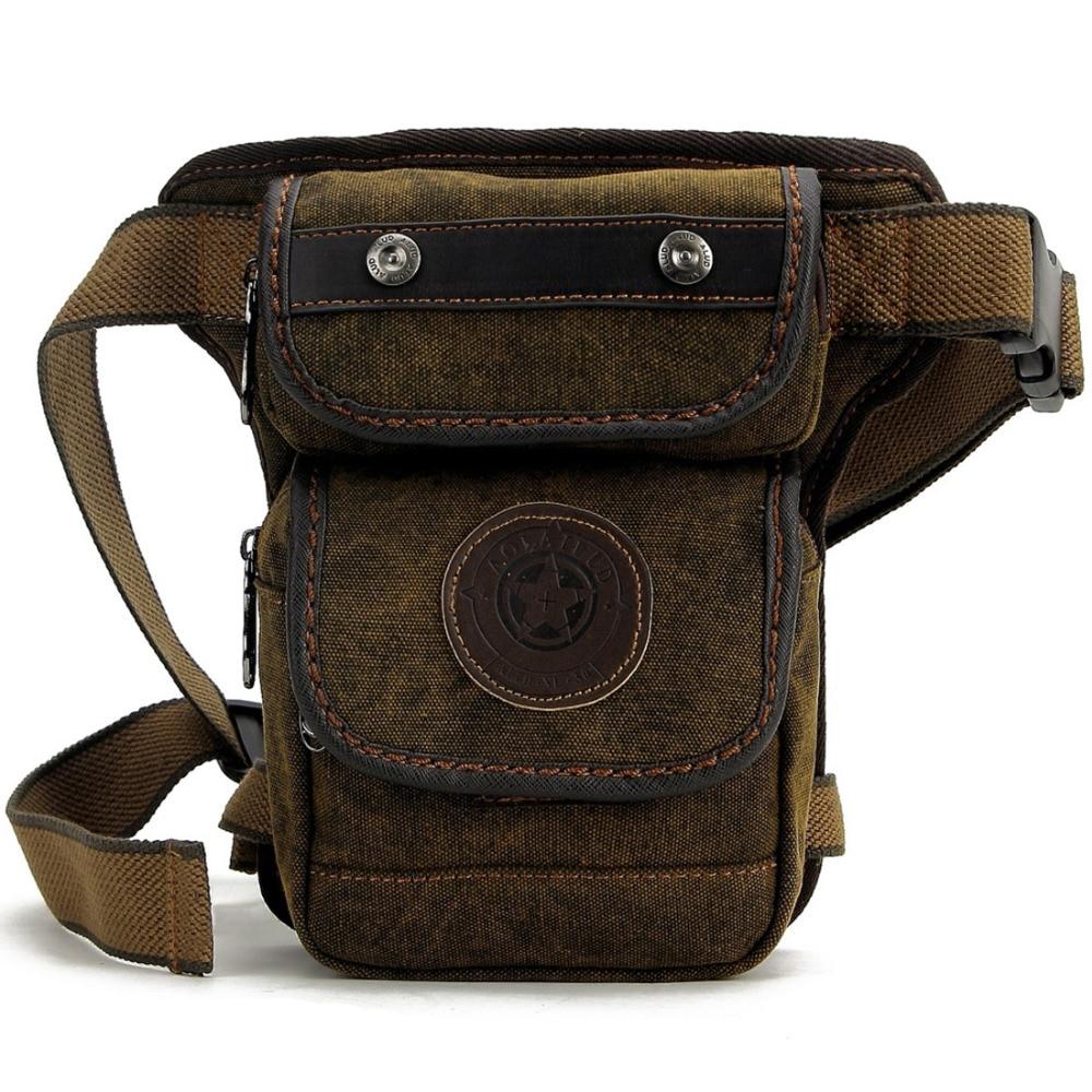Άνδρες καμβά / νάυλον Fanny πακέτο πακέτο Vintage τσάντες ώμου Messenger Στρατιωτική μοτοσικλέτα μοτοσικλέτας Rider Hip Bum Belt Drop τσάντα πτώσης