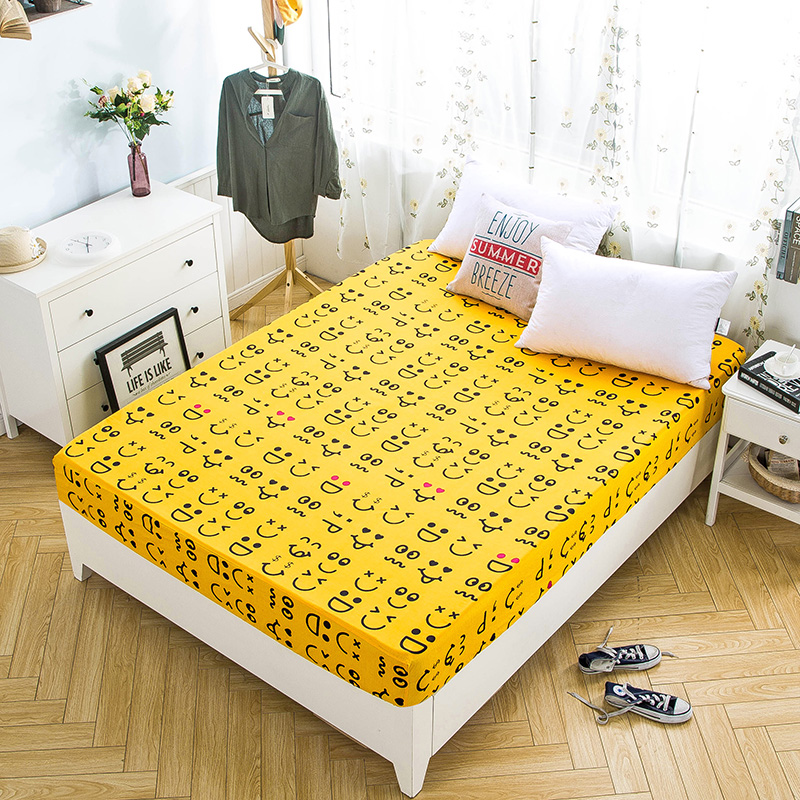 Fashion Yellow+Black Smiley Pattern Thickening 1pcs/Set Home Textile Bedding Fitted Bed Sheet Elastic Bedspread Summer MattressFashion Yellow+Black Smiley Pattern Thickening 1pcs/Set Home Textile Bedding Fitted Bed Sheet Elastic Bedspread Summer Mattress