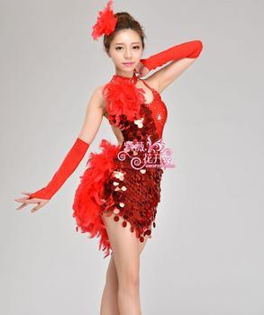 32a750544 Chica Latino danza Vestidos para lentejuelas pluma estilo cha rumba samba  Salón tango danza ropa traje de la danza