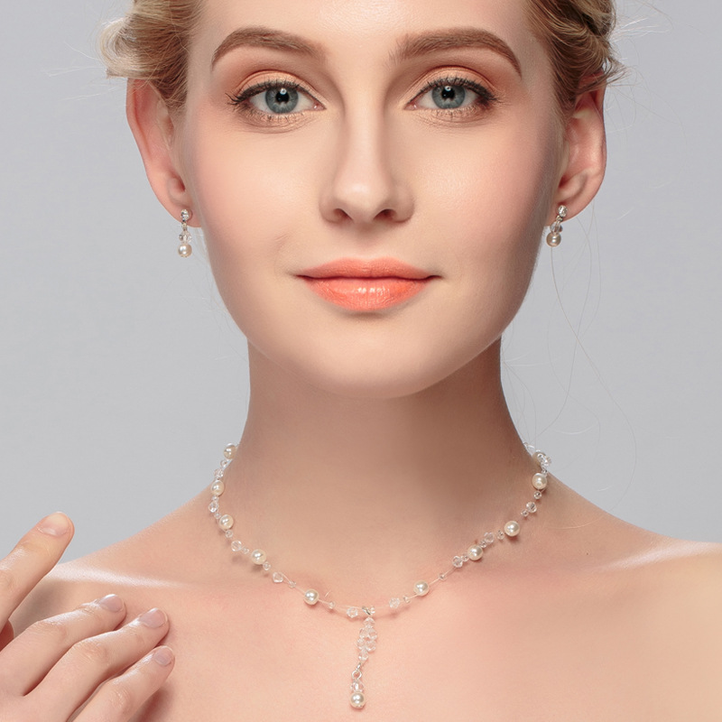 Elegant Silver Jewelry Sets for Women Pendant Necklace Earrings Sets Brides Bridesmaid Wedding Decor Drop Jewelry Sets