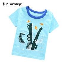 75ef01778 Divertido naranja verano moda niñas y niños Camiseta de manga corta Camiseta  de algodón suave Tops ropa de dibujos animados niño.