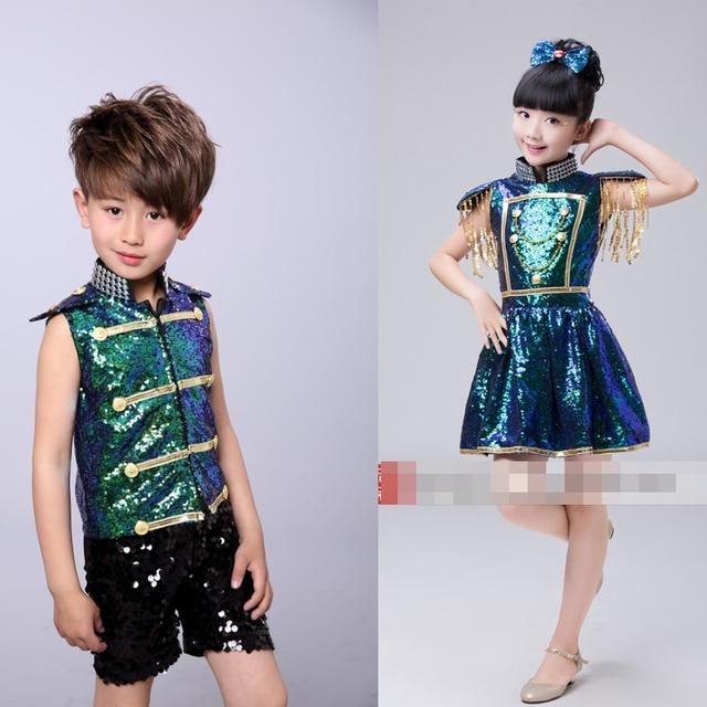 589fd46e37b1 Girls Boys Ballroom Sequined Dance Clothes Kids Party Jazz Hip Hop ...