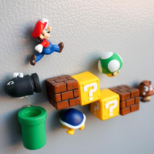 10 solo 3D lindo super Mario decorados imanes de nevera pegatinas magnéticas creativas refrigerador para pegar el hogar