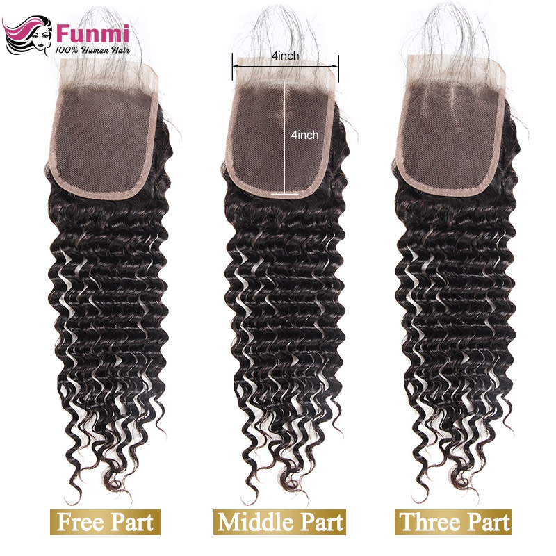 Funmi Brazilian Virgin Hair Deep Wave Lace Closure With Baby Hair 130% Density Human Hair Closure Tangle Free For Hair Salon