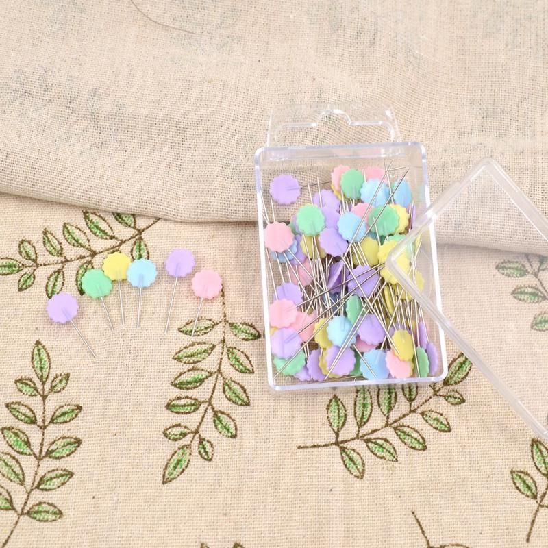 100pcs/bag Pins Mixed Colors Sewing Patchwork Pins Flower Head Pins Sewing Tool Needle Arts Sewing Accessories Plum Blossom