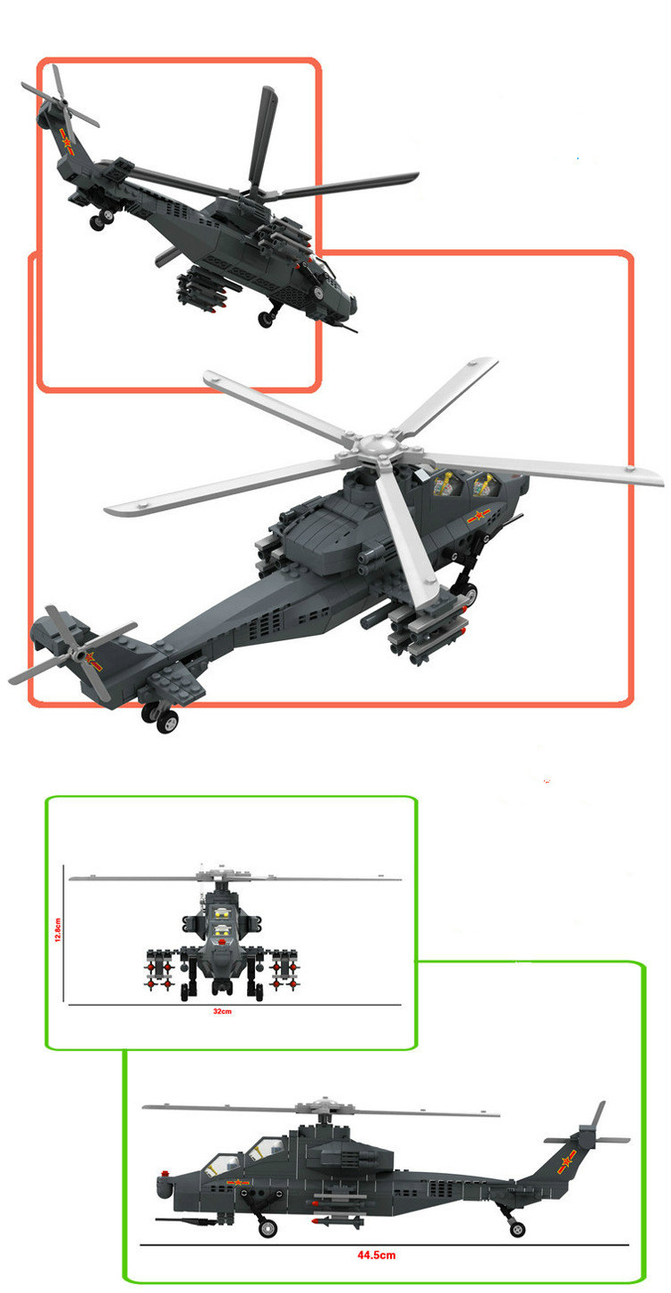 Elicottero Z10 : Military toy fighter modern warfare w z gunship helicopter