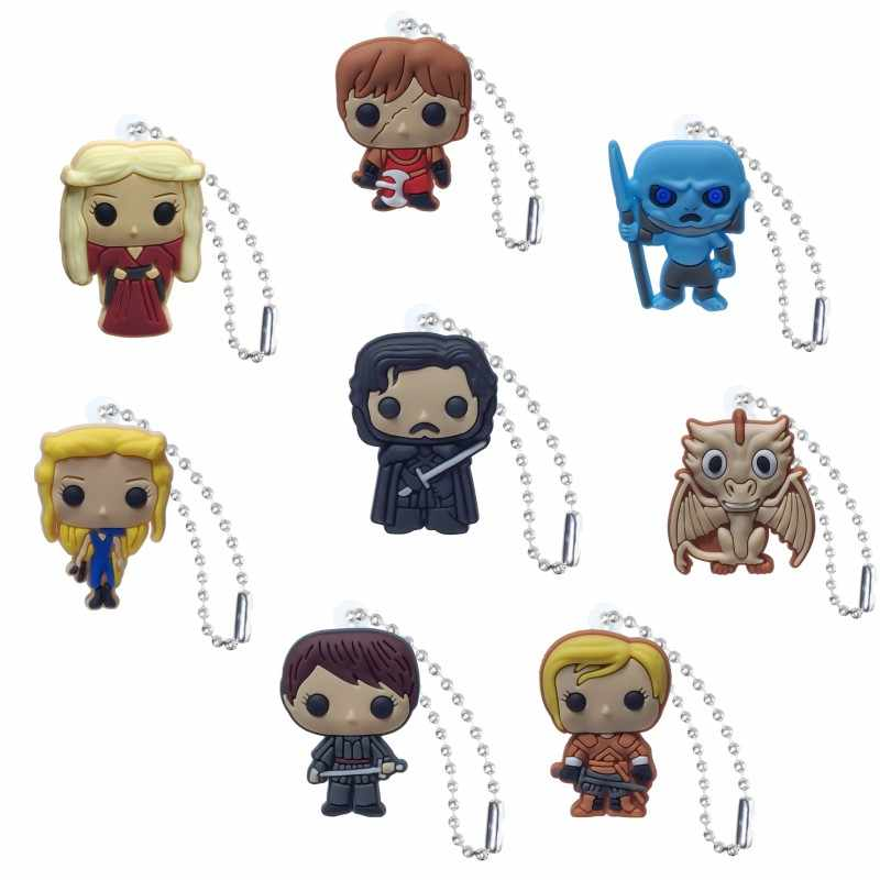 1pc Game of Thrones PVC Keychain Cartoon Figure Key Chains Key Ring  Key Holder Kid Christmas Gift Fashion Charms Trinkets