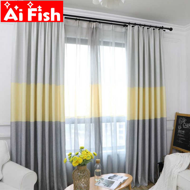 Nordic Curtain Fabric Shading Tricolor Stripe Curtains For Living Room  Semi-Blackout Curtain Simple Modern For Bedroom DF060-40